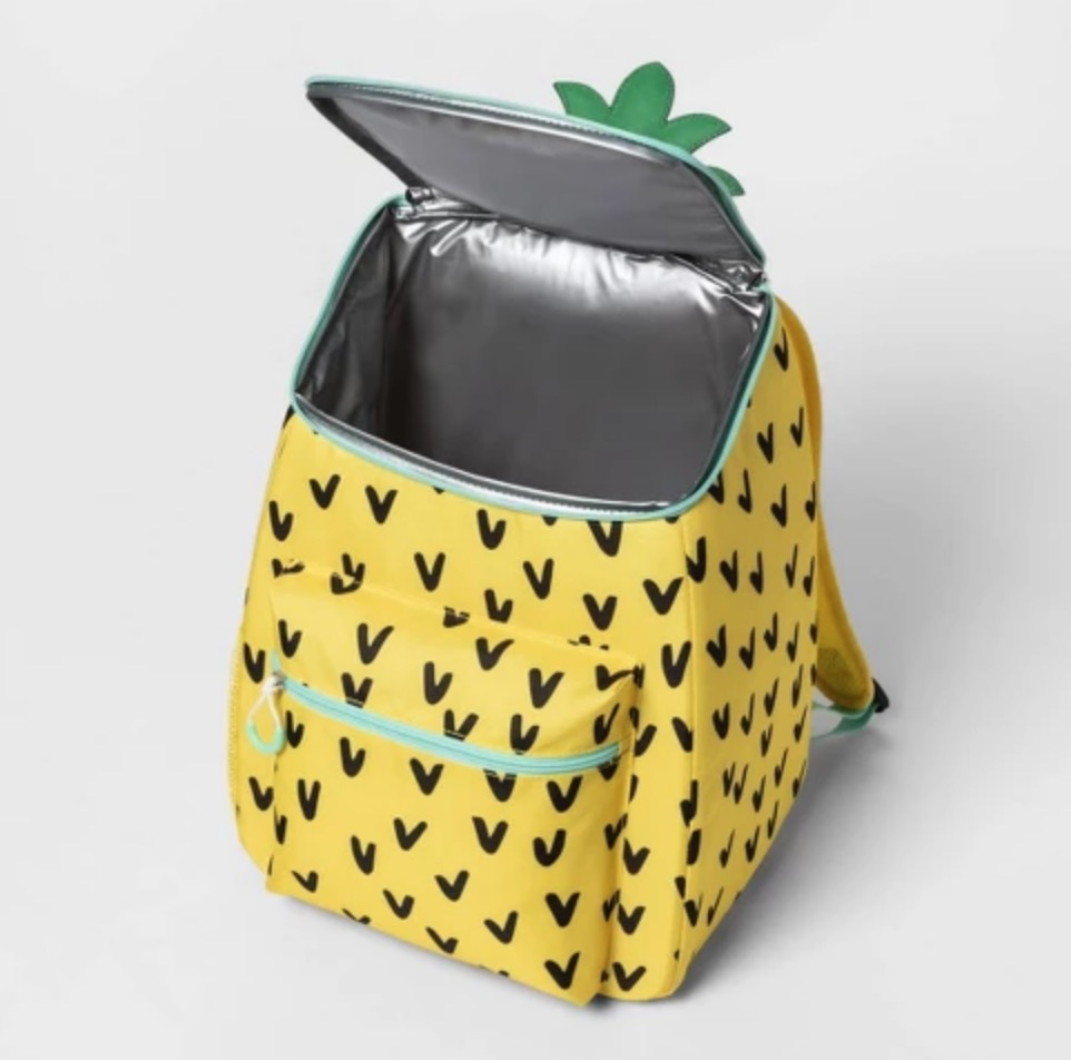 A pineapple cooler backpack.