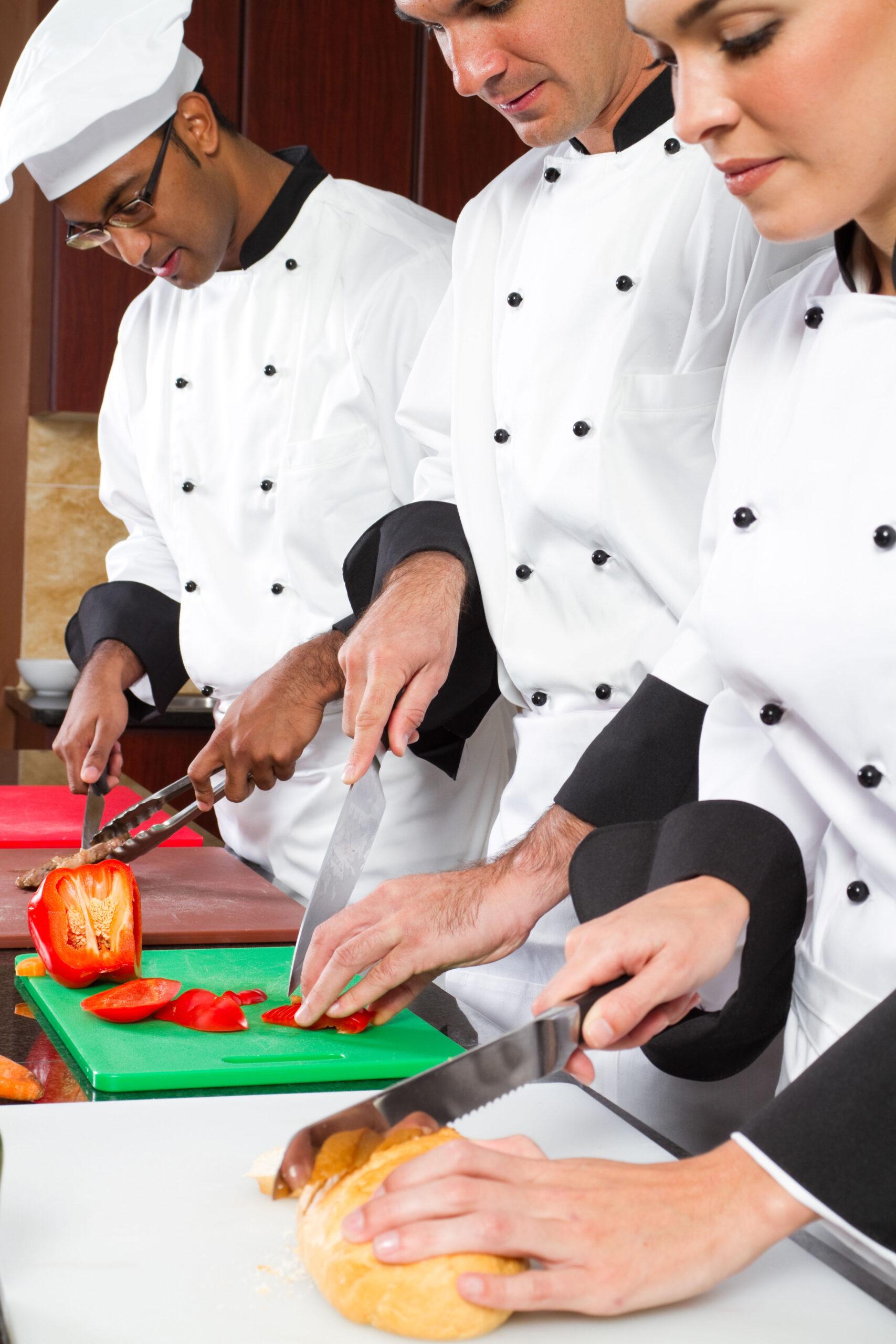 Professional cooks teamwork