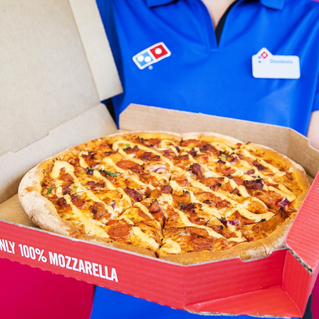 EDITORIAL USE ONLY To celebrate Valentine's Day, Domino's has introduced a new Mediterranean-inspired Catalan Chicken & Chorizo pizza to its menu, as it expects over 300,000 pizzas to be ordered for the occasion and around 500 orders a minute during the dinner time peak.