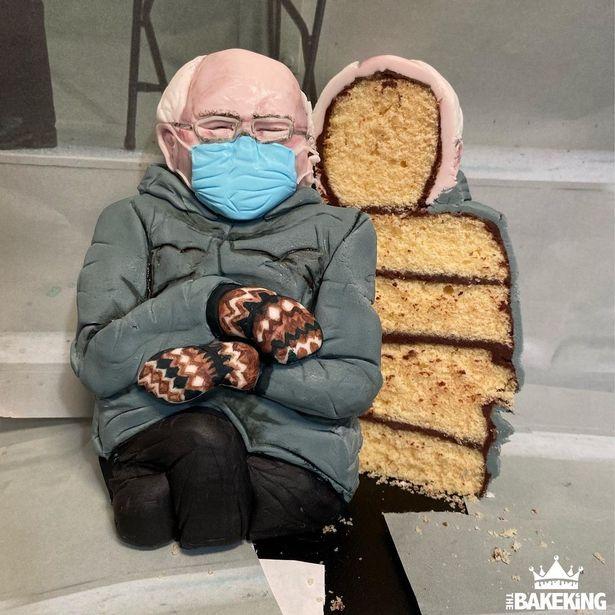 Bernie Sanders chair meme cake