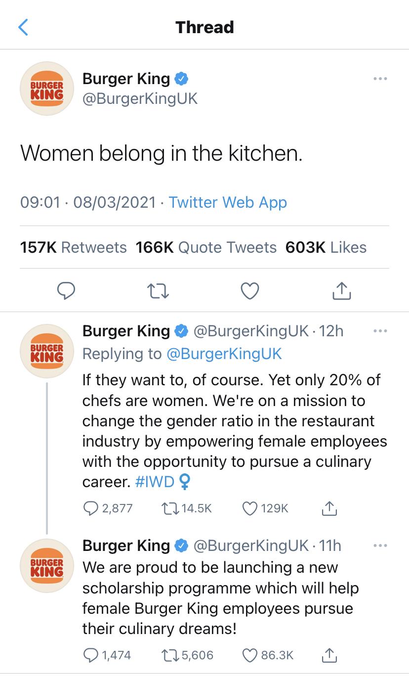 Burger King tweet International Women's Day