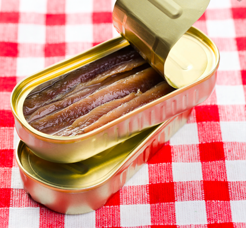 Anchovies in tins